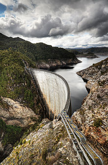 The Gordon Dam in Tasmania is a large hydro facility, with an installed capacity of430 MW.