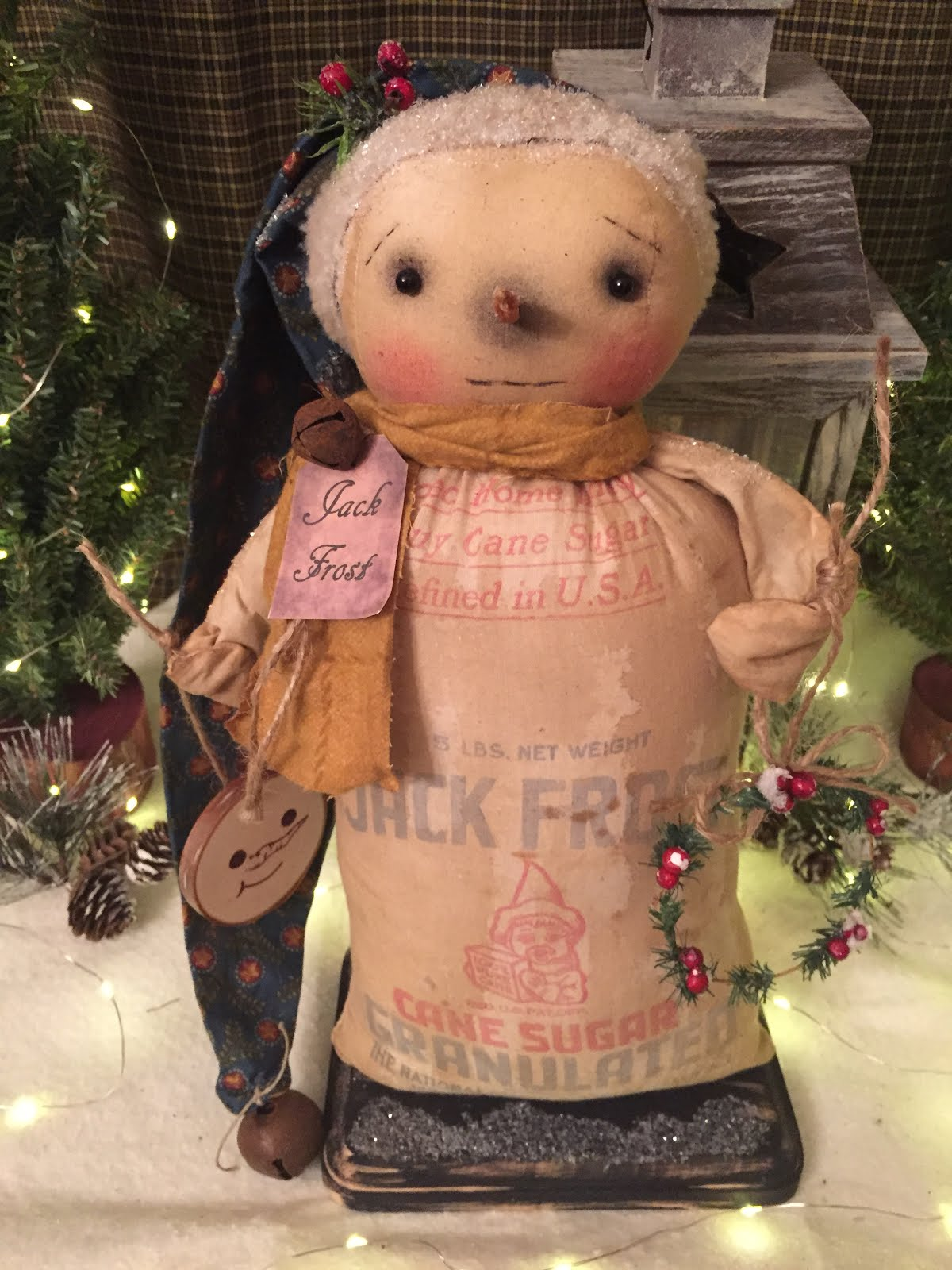 Handmade Primitive Standing Vintage Sugar Sack Snowman With Wreath And Ornament
