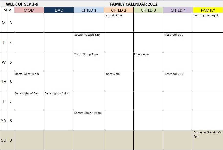Weekly Family Planner Template - Monday through friday schedule template