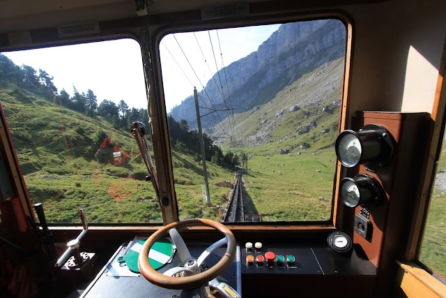 The scenery of Pilatus Kulm (Mount Pilatus) from the driver seat of the Locher cogwheel train in Lucerne, Switzerland