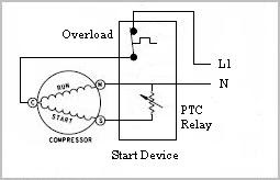 How connect wires to my fridge compressor pneumatic cannon discussion here is another diagram showing a conventional relay follow power from the line to the thermostat to the overload to the start relay to the start and run asfbconference2016 Image collections