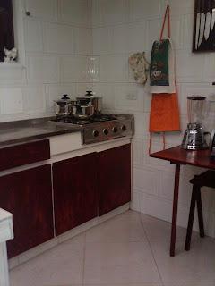 Vista de la Cocina en casa amoblada para alquilar en Bogotá