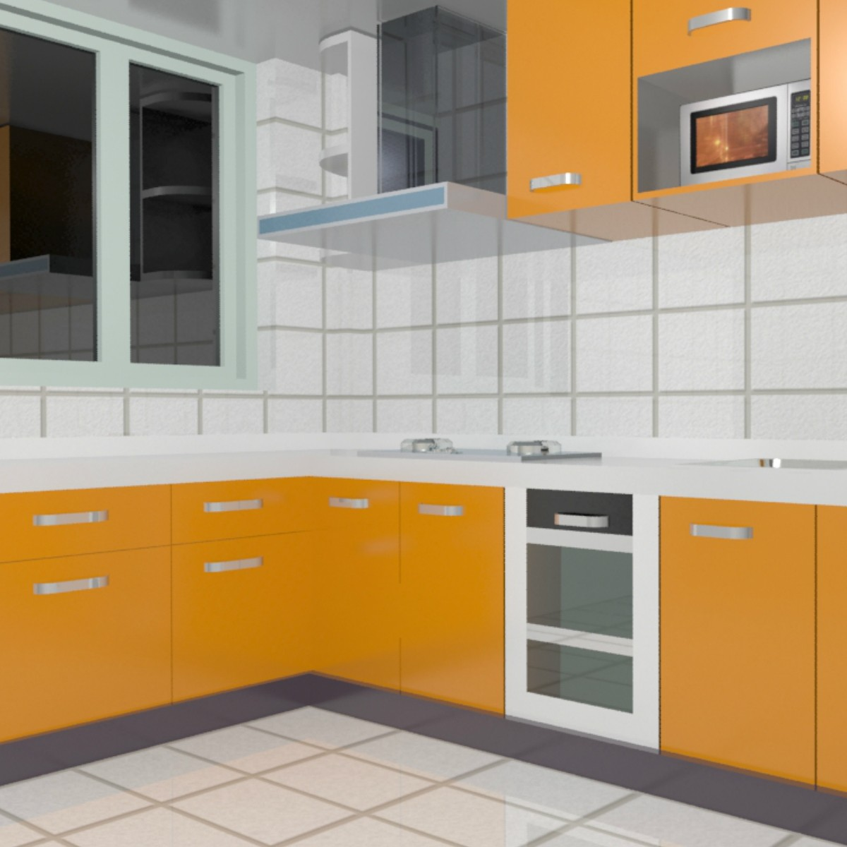 Foundation dezin decor 3d kitchen model design for Modular kitchen cupboard
