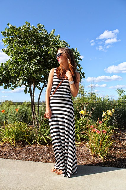 maxi dress, kate spade watch, black and white striped maxi dress, stripes, nashville blogger, nashville, batman building, leather crossbody, camel leather purse, festival purse