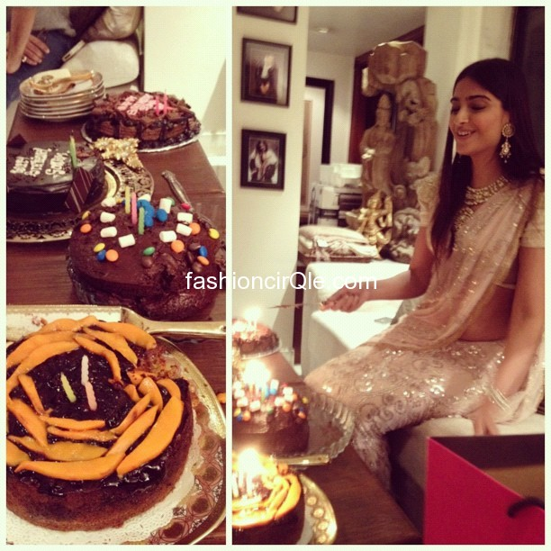 Sonam kapoor looking gorgeous on  her birthday 2012  - Sonam kapoor Birthday pics- sparkling sari pics