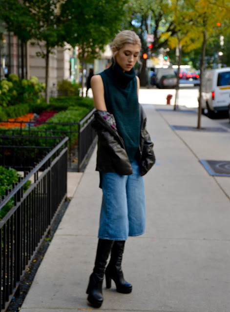 banana republic, ootd, style blog, leather jacket, culottes, denim, turtleneck, style blog