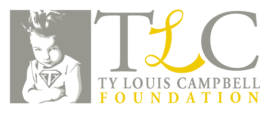 Banner of TLC Foundation with SuperTy as mascot.