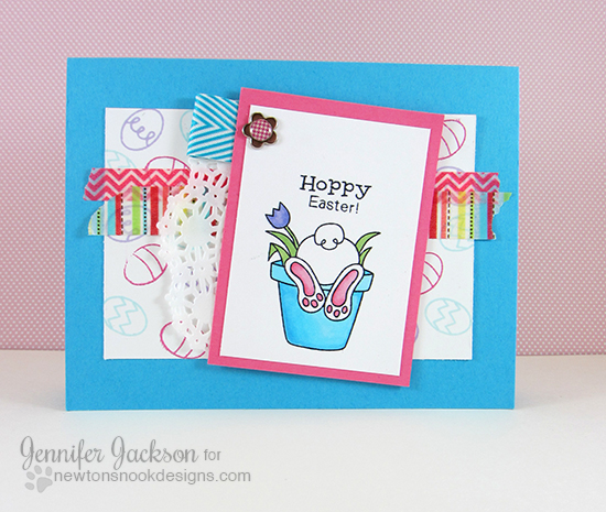 Hoppy Easter card by Jennifer Jackson | Bunny Hop stamp set by Newton's Nook Designs