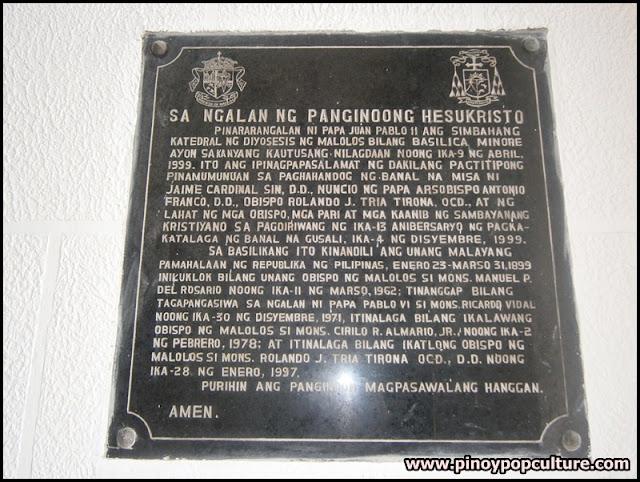 Malolos Cathedral plaque, plaque, consecration, Basilica Minore