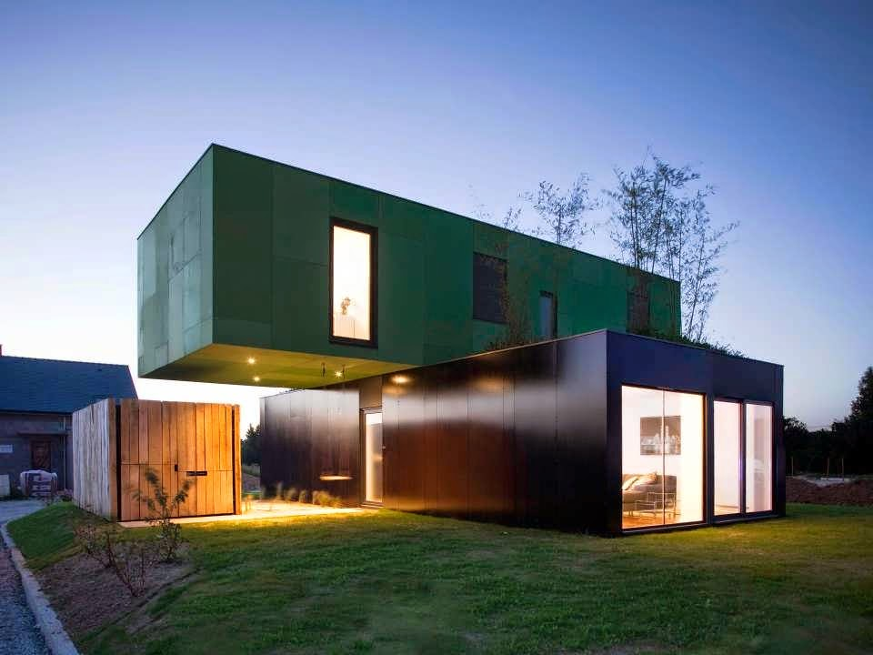Cross container unique design minimalist house concept for Minimalist box house design