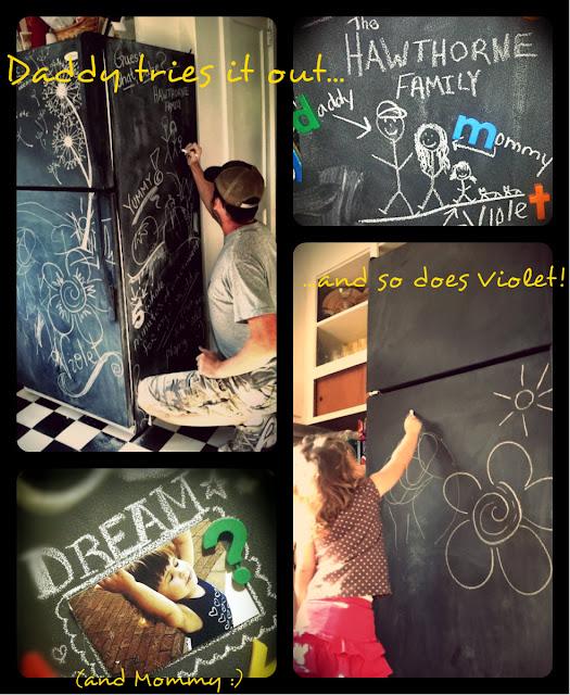 white fridge painted black, Rustoleum chalkboard paint