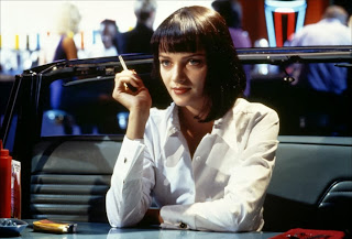 Uma Thruman as gangster's ravishing wife, Pulp Fiction, Directed by Quentin Tarantino