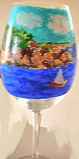 custom painted wine glass