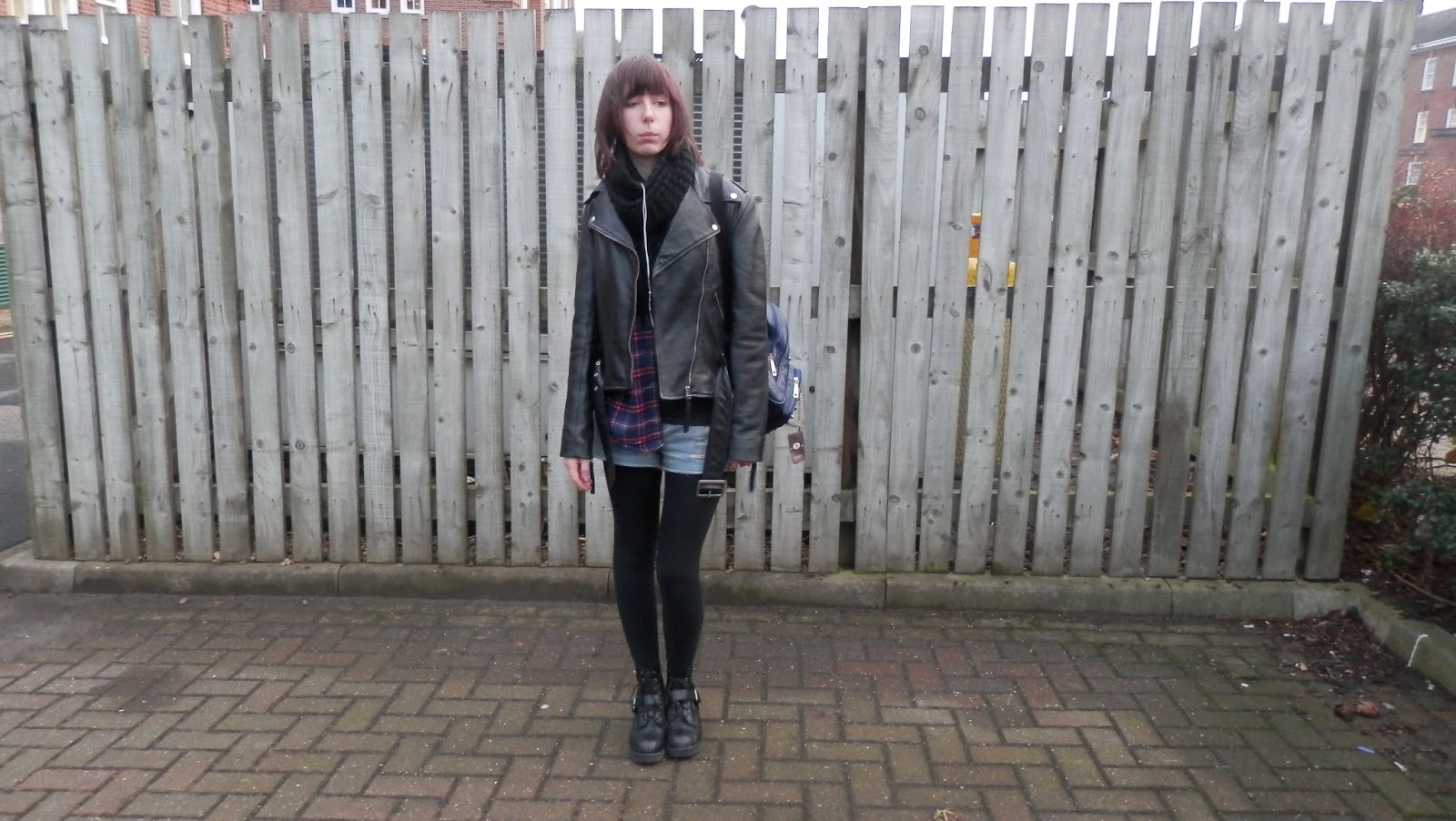 Leather Jacket, shorts and checks outfit