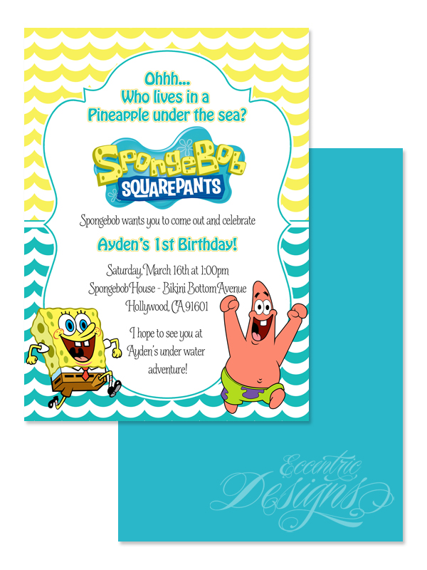 Eccentric Designs by Latisha Horton Spongebob Birthday – Spongebob Party Invitations