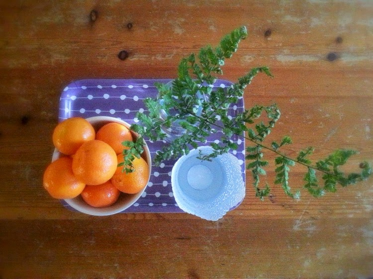 Fern and clementines on the table