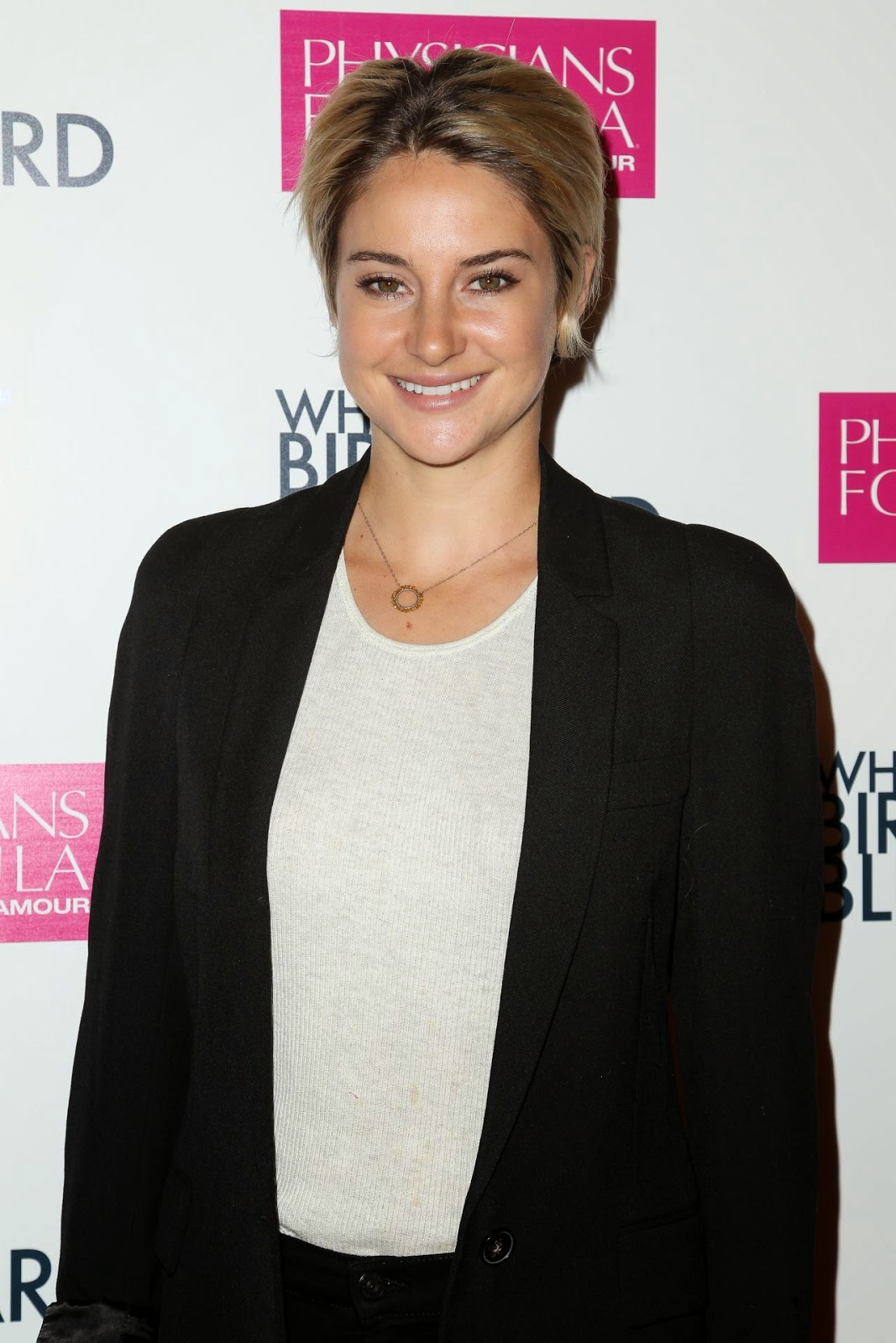 Shailene Woodley wears a black pant suit look for the 'White Bird in a Blizzard' LA premiere