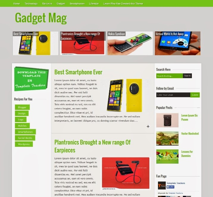 Gadget Magazine Responsive Blogger Template for Magazine Blogs