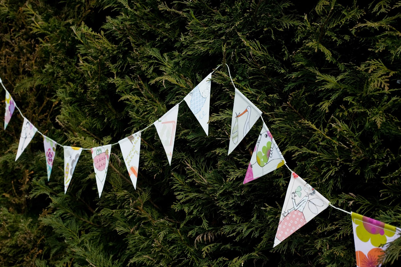 bunting trees wrapping paper greeting cards liz and pip ltd