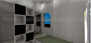 kamar tidur anak mungil abu-abu