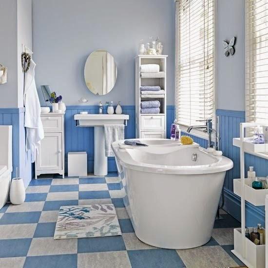 Quadrat ba o celeste y blanco - Como decorar un bano blanco ...