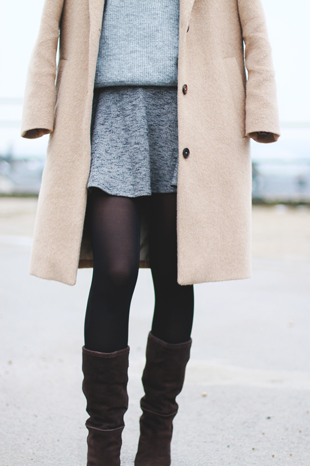 mini skirt and oversized coat
