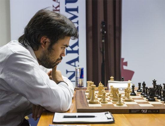 Le joueur d'échecs américain Nakamura a battu Grischuk dans une longue partie et reprend la 2e place au classement Elo instantané © Lennart Ootes