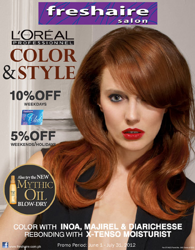 L 39 oreal professionnel diarichesse mythic oil blow dry at for Loreal salon price list