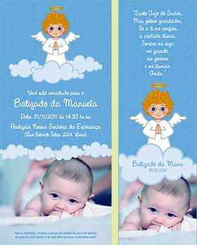 Ilustração + design de convite e lembrancinha para batizado