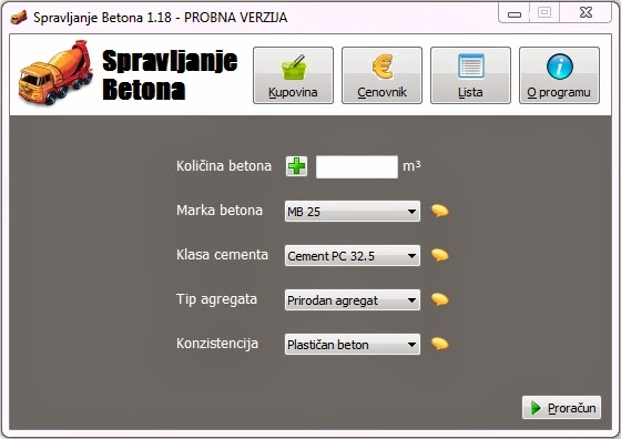 Program Spravljanje Betona
