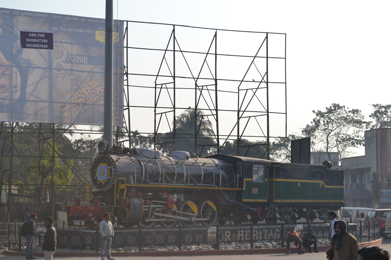 Rail engine displayed in front of jalpaiguri station