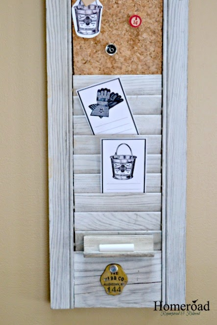 Weathered Repurposed Shutter Organizer www.homeroad.net