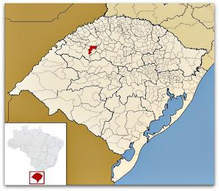 Cidade de Entre-Ijuís, no mapa do Rio Grande do Sul.