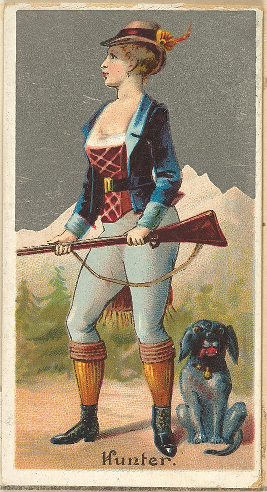 "Hunter. Vintage tobacco card ""Occupations For Women"", via ellomennopee"