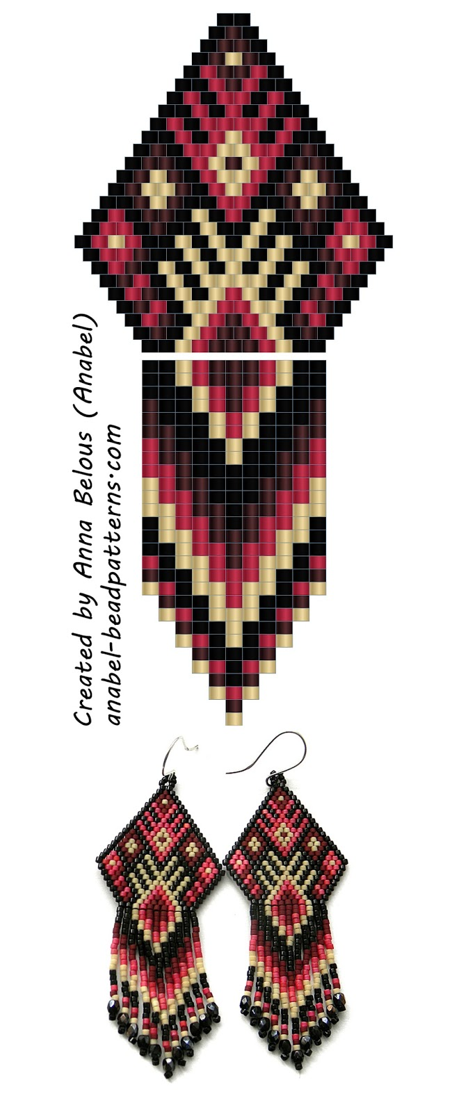 Схема серег из бисера - beaded earrings pattern