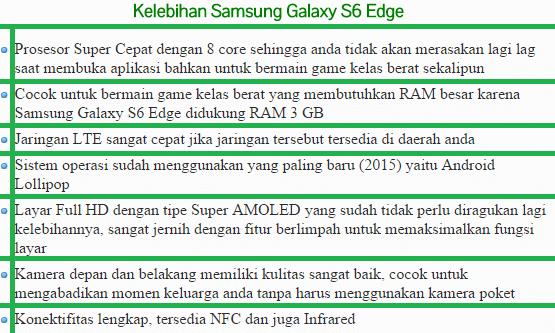 Kelebihan Hp Samsung Galaxy S6 Edge