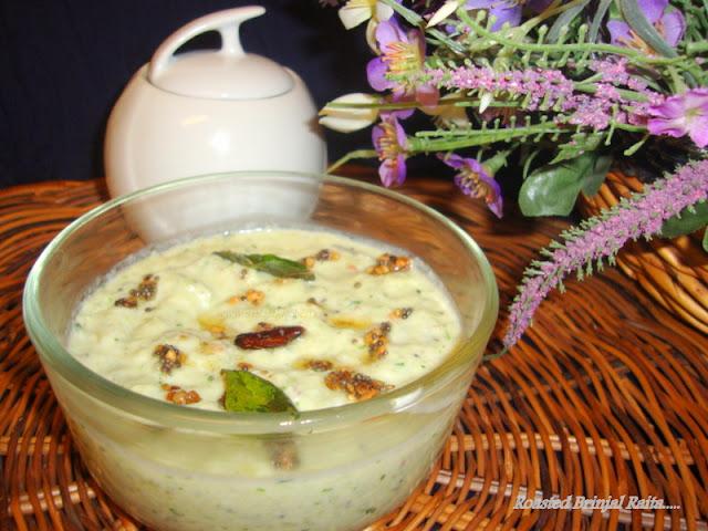 image of Brinjal Raita / Kathirikkai Thayir Pachadi / Baingan Ka Raita Recipe / Eggplant Raita Recipe / Roasted Brinjal Raita