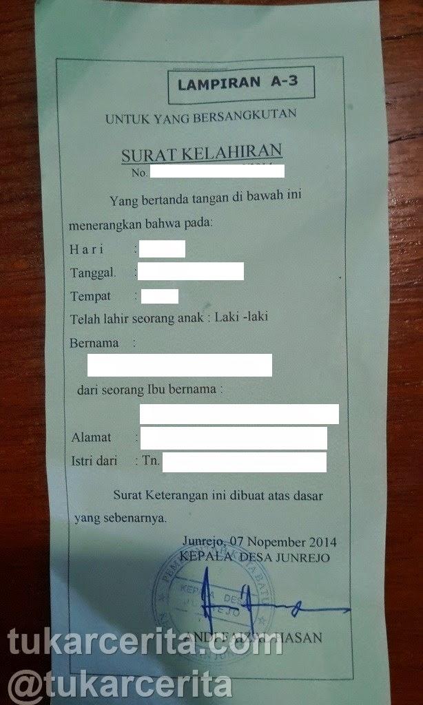 surat kelahiran atau formulir A-3