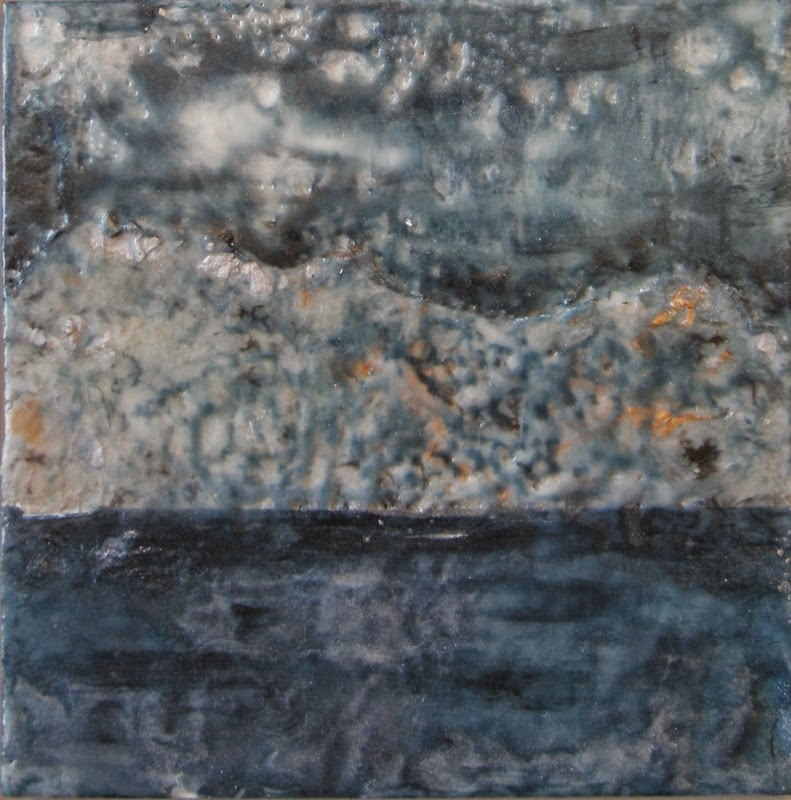 mixed media encaustic, moonlight on water,