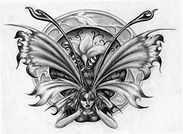 Angry fairy tattoo stencil