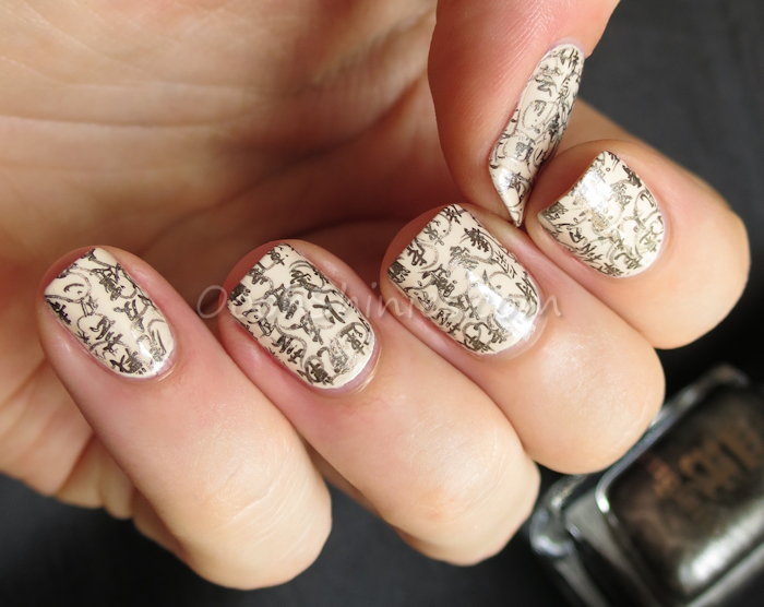 OPI My Vampire Is Buff with A England Dorian Gray and Virgin Queen and UberChic Beauty plate UC The Far East -01