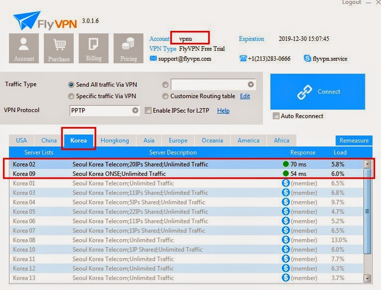 Login vpnu to use FlyVPN Korea VPN Trial Server
