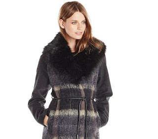 Vera Wang Womens Sohphie Plaid Wool-Blend Coat