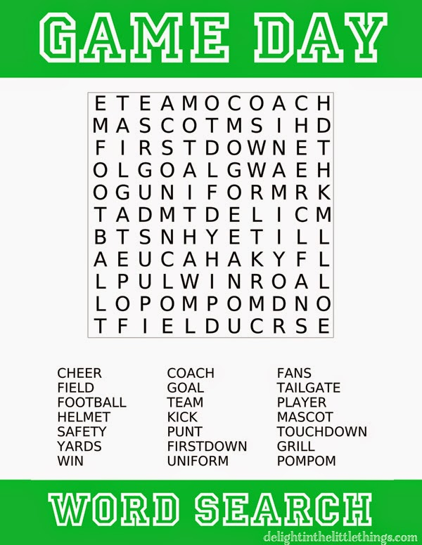 Game Day Football Wordsearch Free Printable