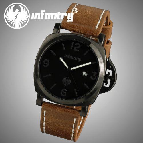 Stylish New Black Mens Date Leather Gift Analog Army Military Sport Wrist Watch