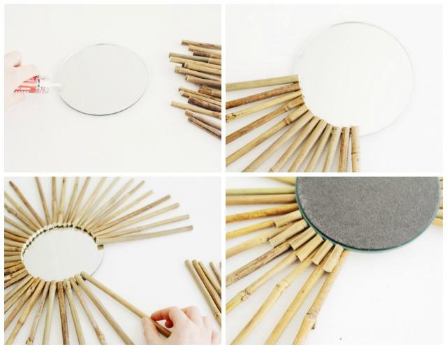 diy espejo sol de bamb