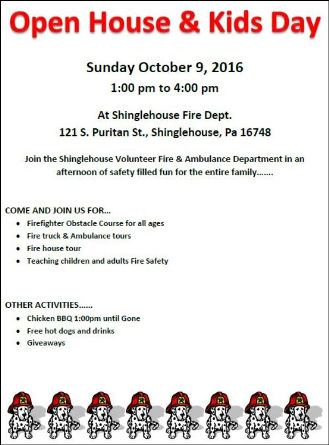 10-9 Open House & Kids Day, Shinglehouse