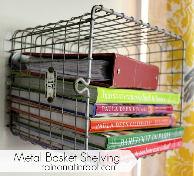 DIY Metal Basket Shelving {rainonatinroof.com} #metal #basket #organize #shelf #DIY