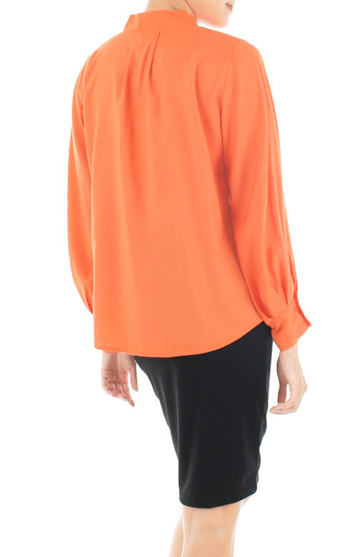 Conference Chic Long Sleeve Blouse - Orange
