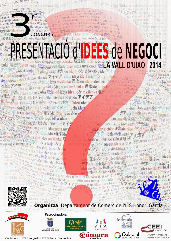 """Cartell """"3r Concurs Presentació Idees de Negoci"""" 2014"""